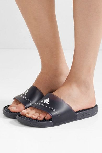 340a5ed01d86 Adidas by Stella McCartney - Logo-printed Rubber Slides - Charcoal ...