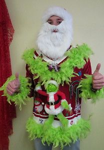 GRINCH ME! GREEN FOO FOO LIGHT UP UGLY CHRISTMAS SWEATER JUMPER ...