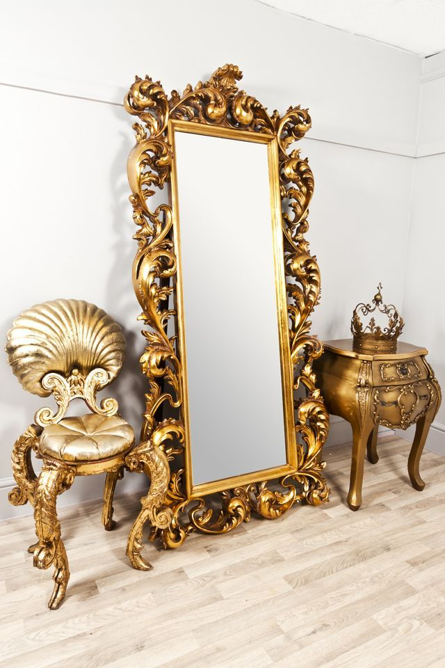 extra large full length gold rococo dress mirror athena en 2019 mirrors full body mirror. Black Bedroom Furniture Sets. Home Design Ideas