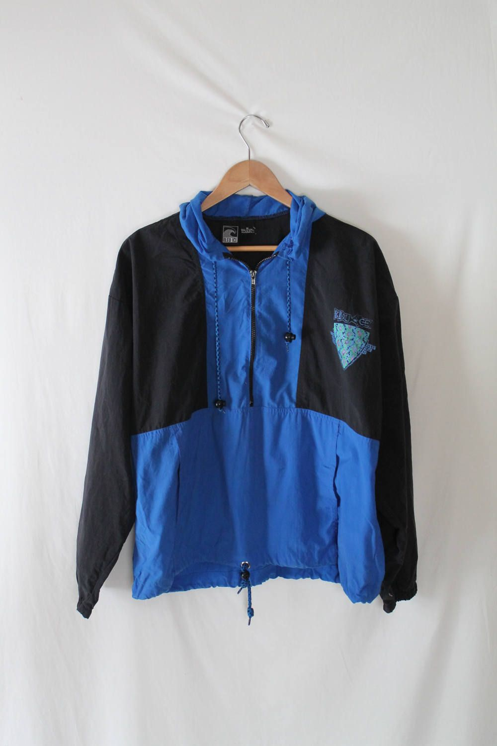 90s BLEU ICE Pullover Windbreaker // Blue and Black Color Block ...