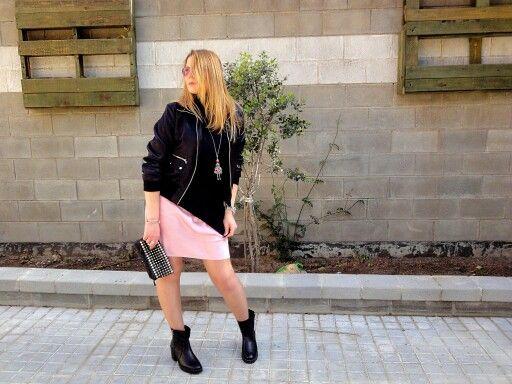 #vestido #lenceria #etam #rosacuarzo #bomber #negra #jersey de #insideshops y #botines #zara