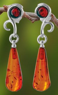 Teardrop of Amber Sterling Earrings at The Rainforest Site