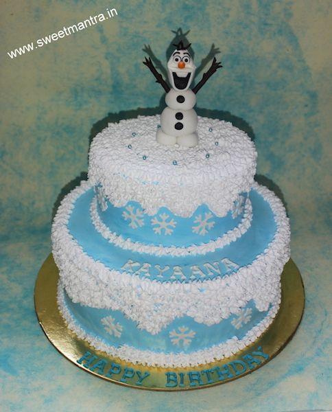 Frozen Olaf Theme Customized 2 Layer Fresh Cream Designer Birthday