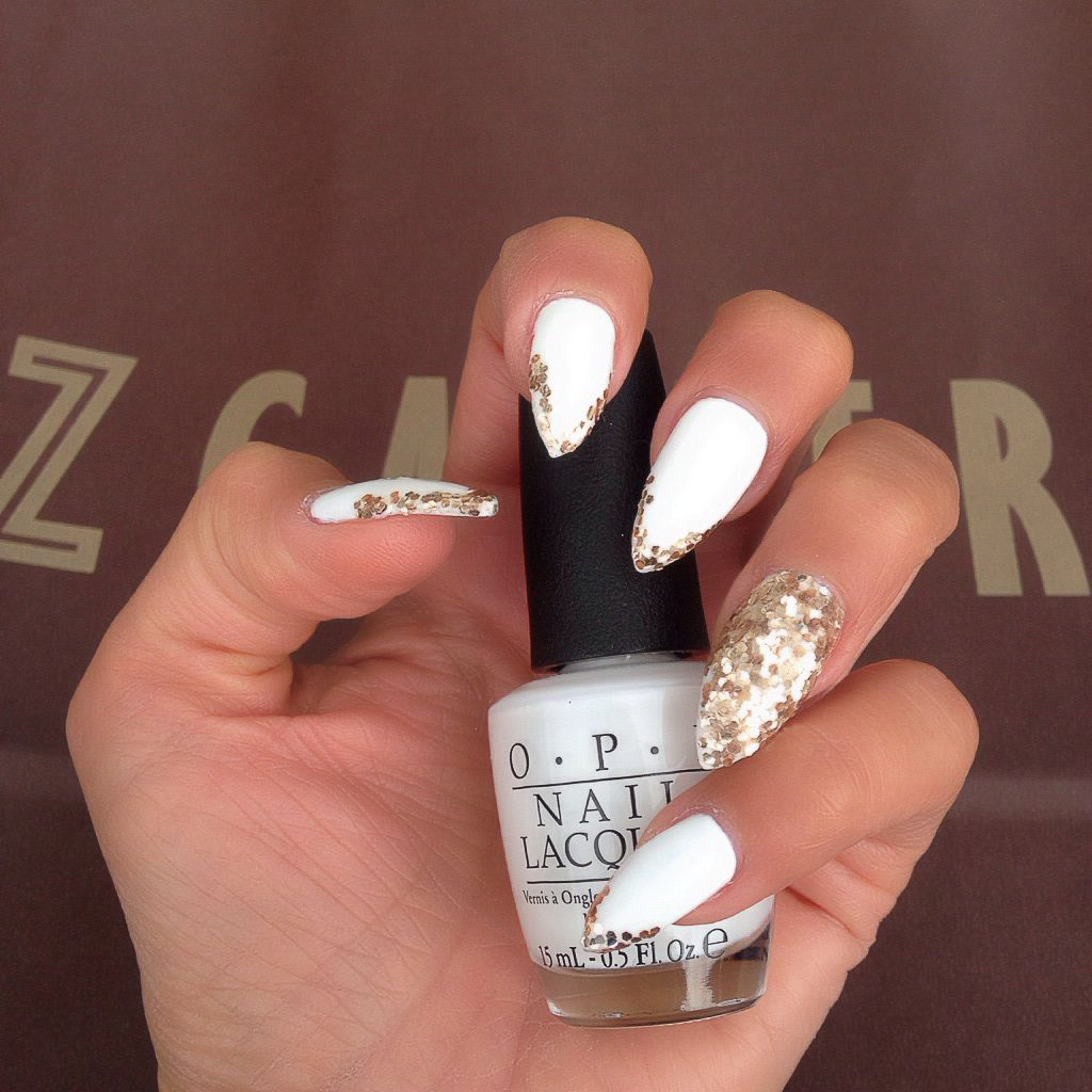 Pointy almond shape acrylic top gel nails with white OPI polish ...