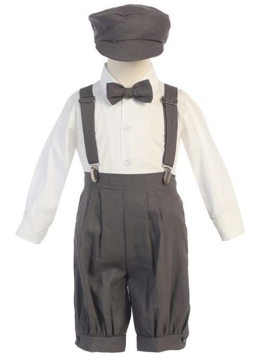 Baby Toddler Boys Knickers Vintage Suit Outfit Set Easter Wedding Hat Suspenders