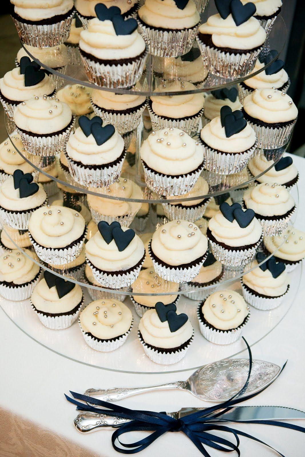 navy cupcake towers Navy Heart Cupcake