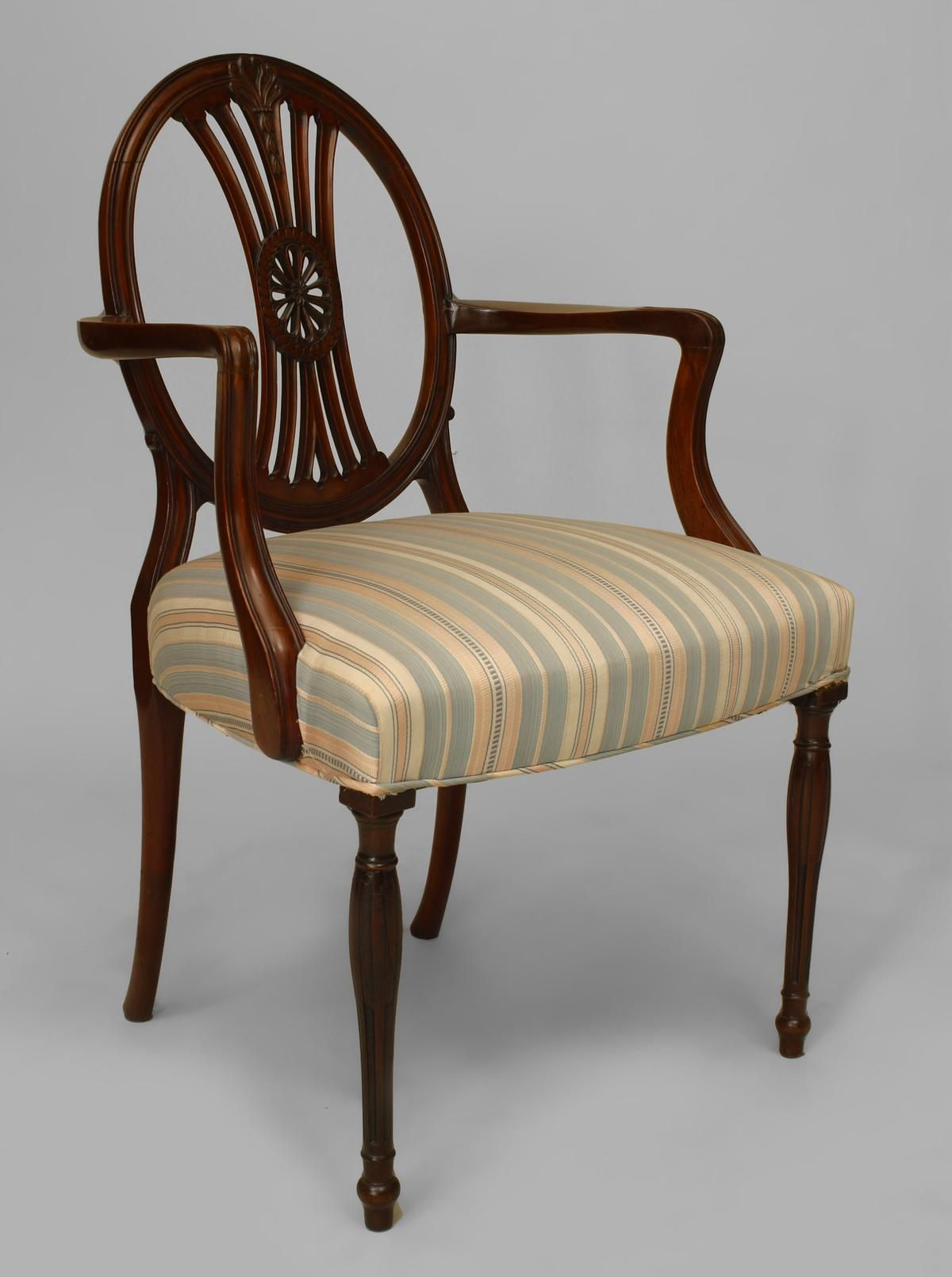 English Sheraton Hepplewhite Seating Chair Set Mahogany