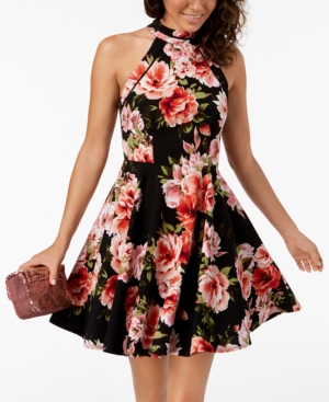 e2741c054898 B Darlin Juniors' Printed Mock-Neck Crochet-Trim Fit & Flare Dress - Black  Rose 3/4