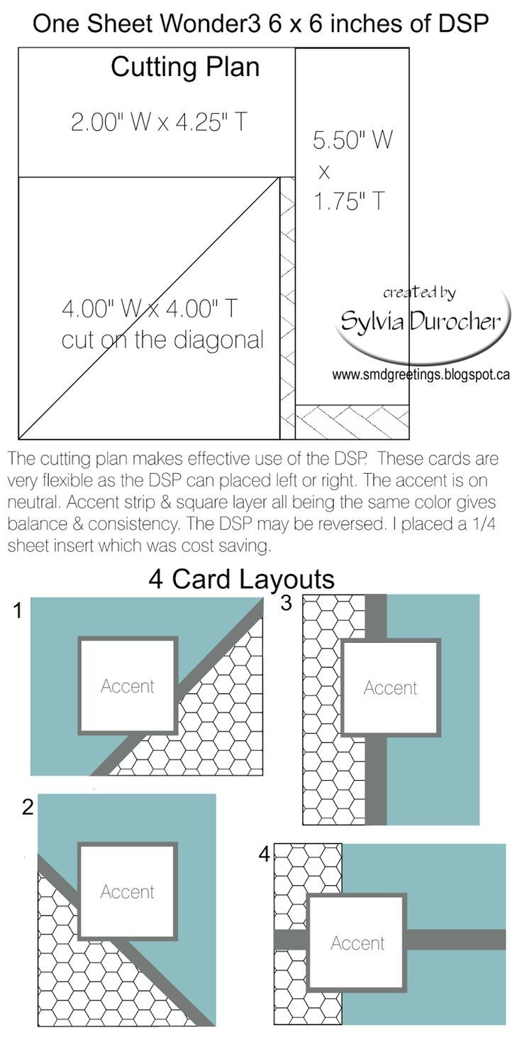 Templates For Card Making Ideas Part - 19: SMD Paper Arts: One Sheet Wonder 3 6x6 Template - 4 Cards