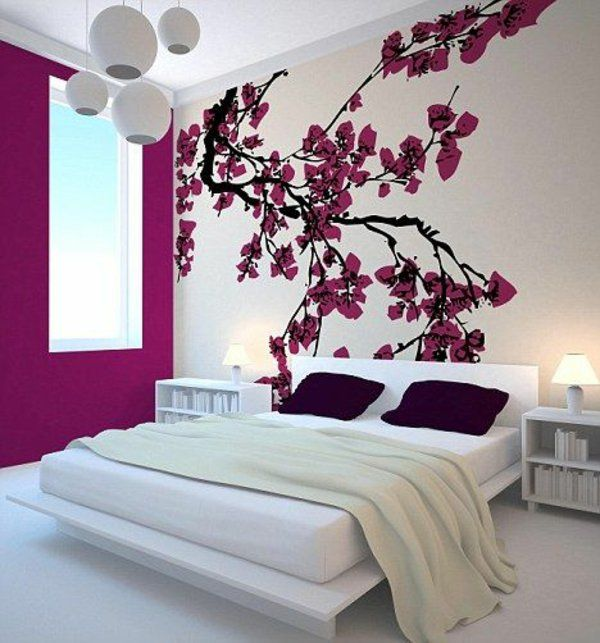 wandgestaltung schlafzimmer wandfarbe purpur mutti Pinterest - wandgestaltung im schlafzimmer