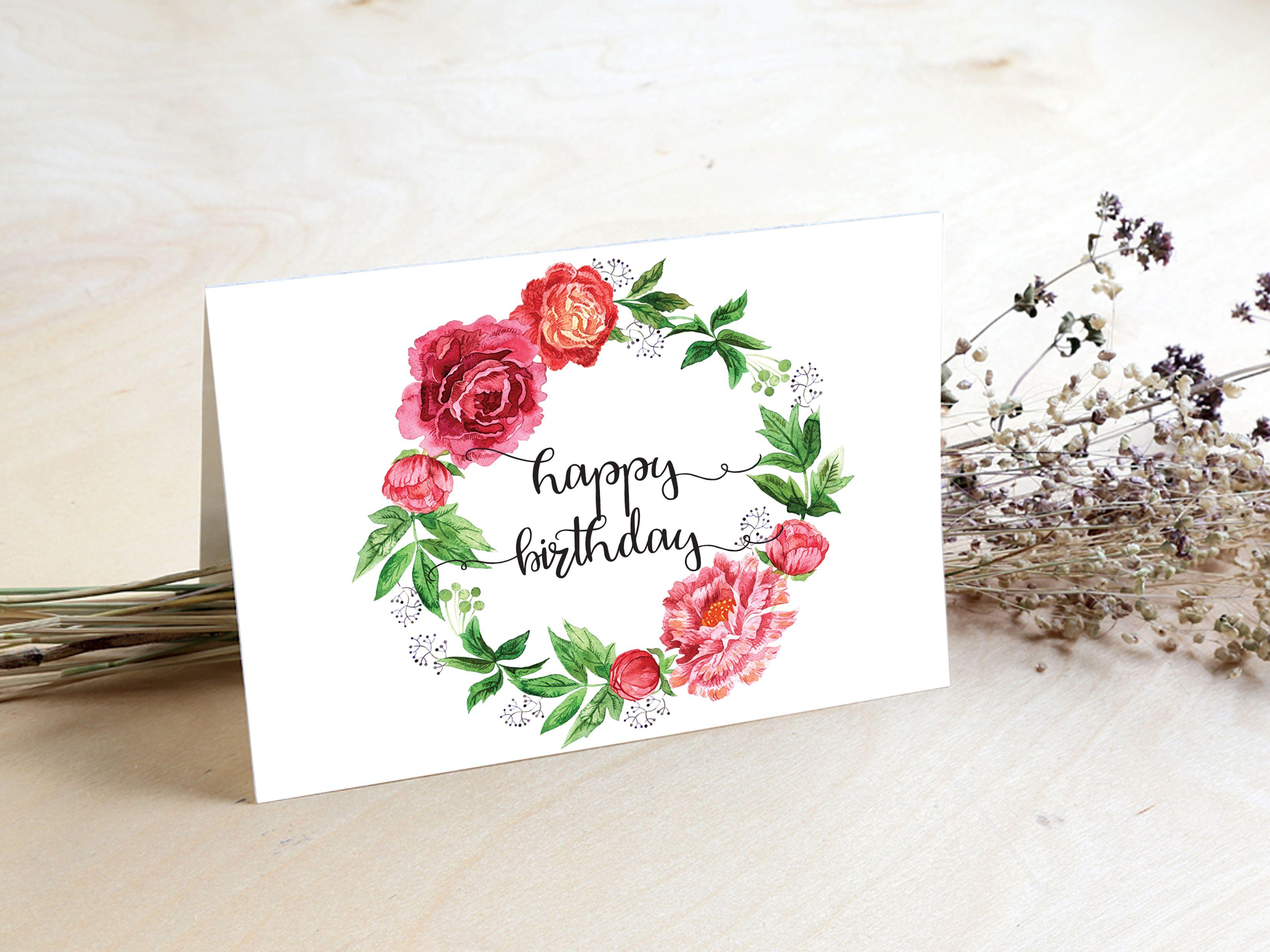 Happy Birthday Card Watercolor Floral Card Printable 3 5x5