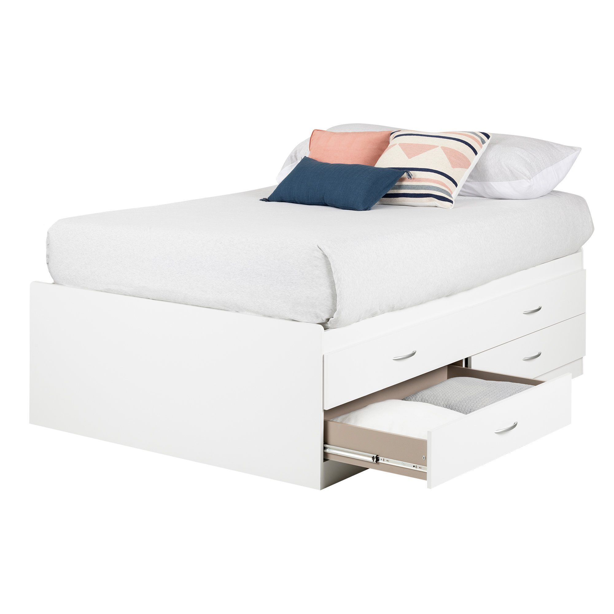 White Captain Platform Full Size Storage Bed with 4