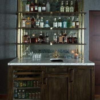 Wet Bar With Shelves On Antique Mirror Backsplash Glass Bar