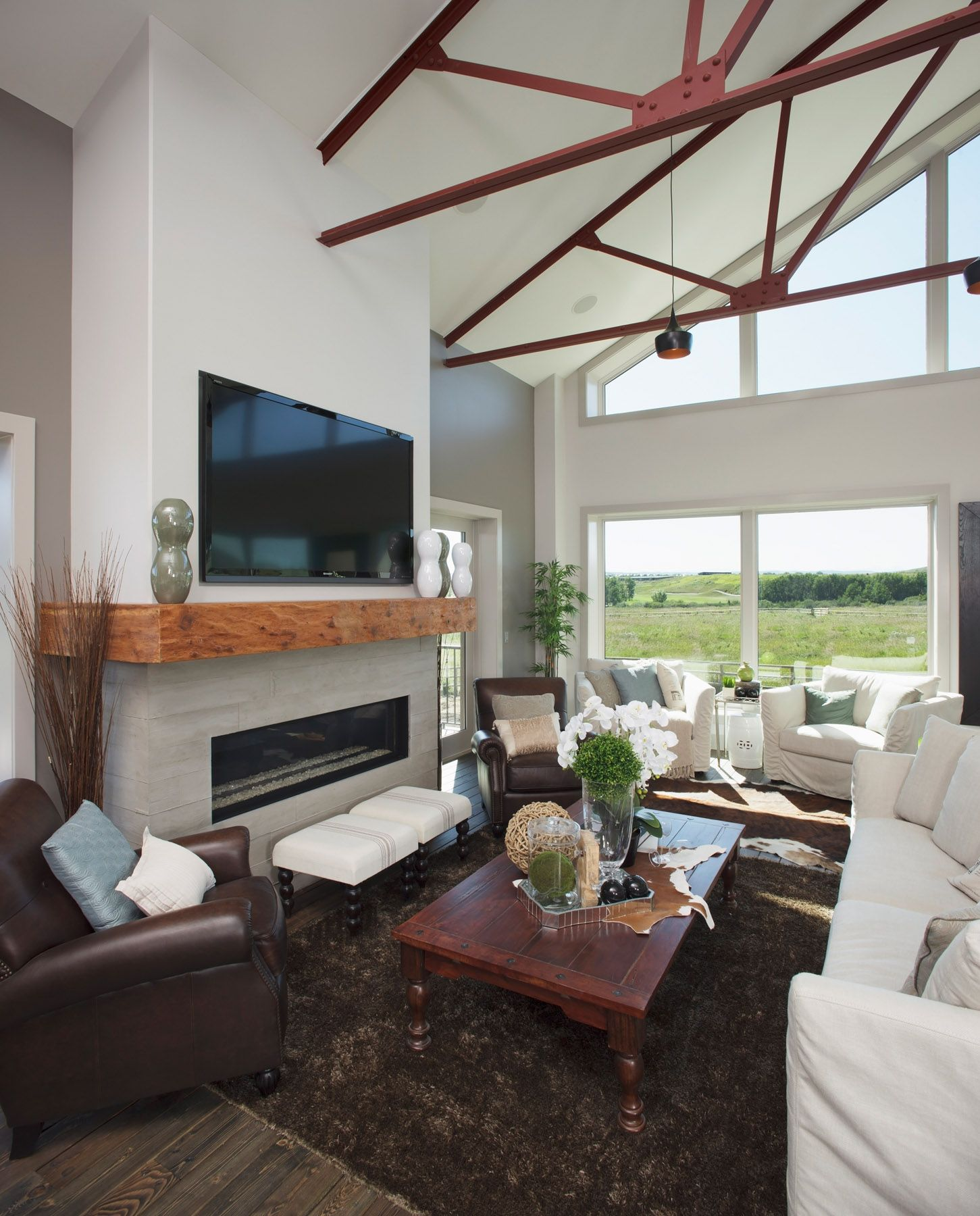 15 Modern Living Room Decorating Ideas 15 Modern Living: Fireplace With Concrete Tiles To Imitate The Look Of Barn