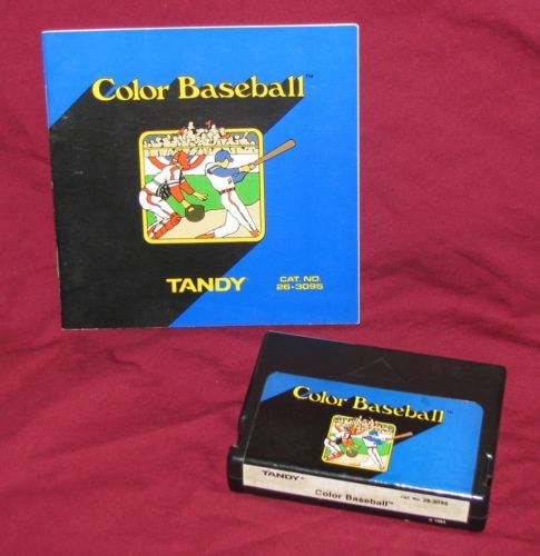 color baseball radio shack trs 80 color computer game cartridge tandy 1983