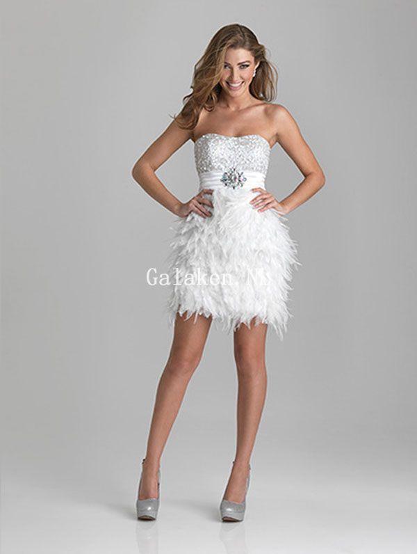 Galajurken Voor Bruiloft.Strapless Wit Feather Kralen Lovertjes Kort Mini Galajurken