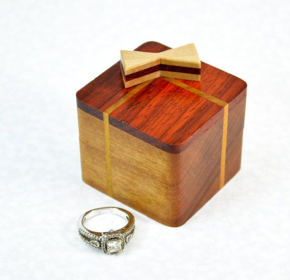Wedding ring box Wood engagement ring box Unique ring case Rustic