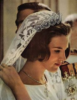 Since she was a Danish royal bride and descendant of Queen Ingrid, she wore the Danish wedding tiara: the Khedive of Egypt Cartier Tiara. Description from pinterest.com. I searched for this on bing.com/images
