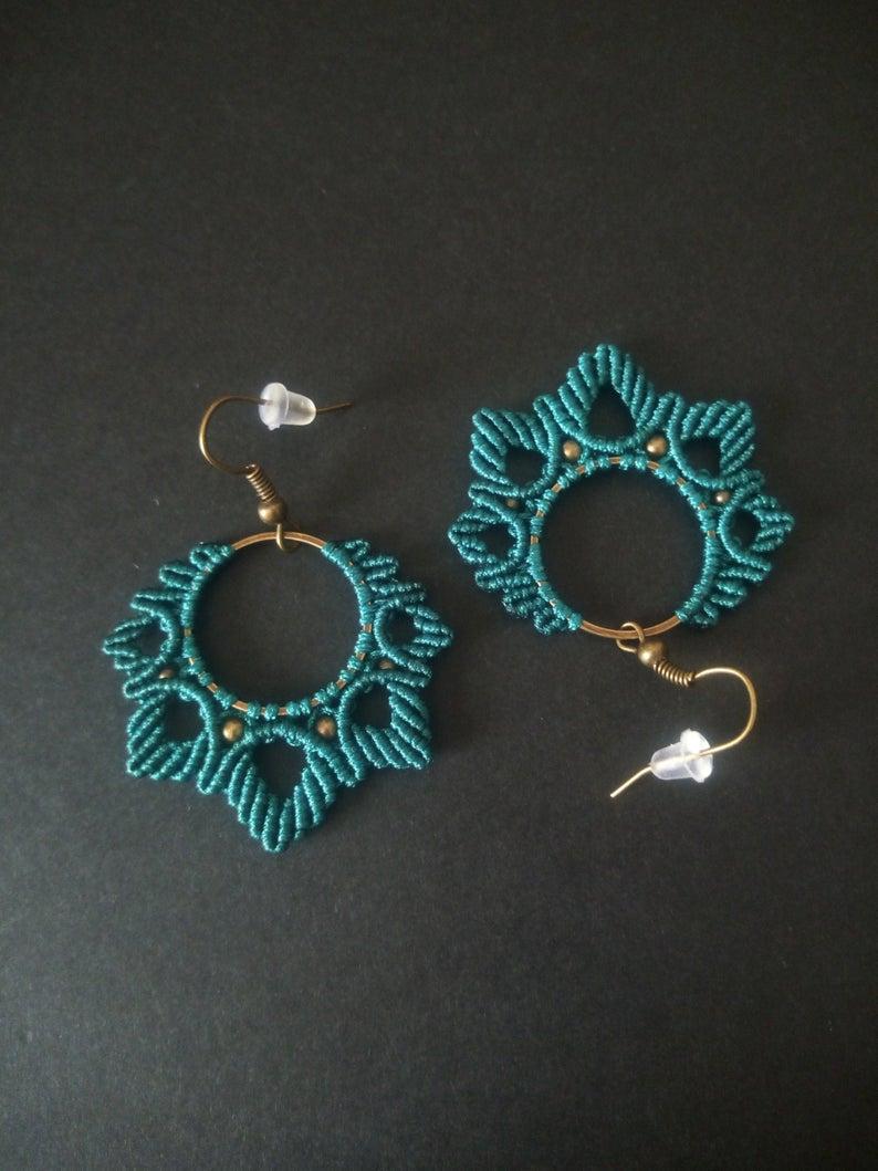 Mini Macrame  Small Macrame Earrings  Mothers Day Gift  Macrame Feather Earrings  Macrame Earrings  Macrame Diffuser Oil Earrings