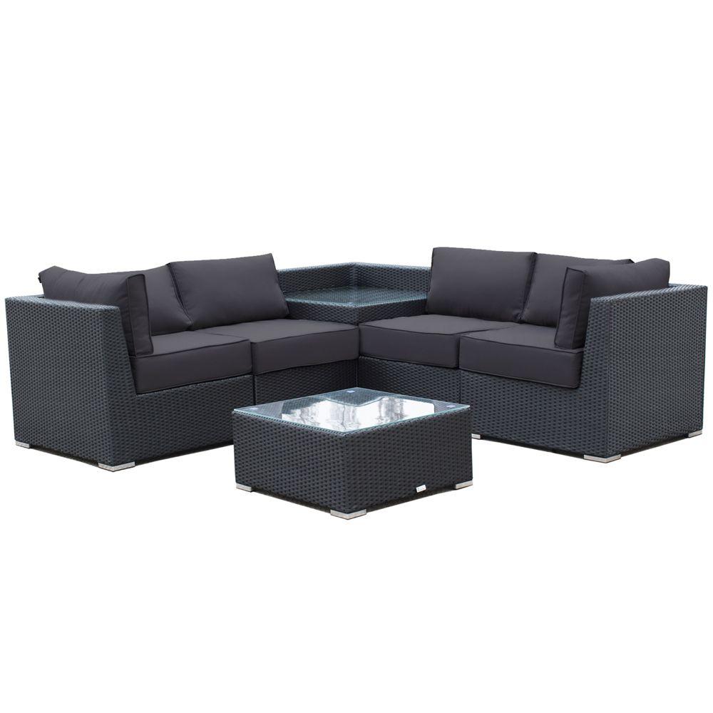 Buy Luxo Maho 6 Piece Modular Outdoor Sofa Set (Black ... on Luxo Living Outdoor id=65863