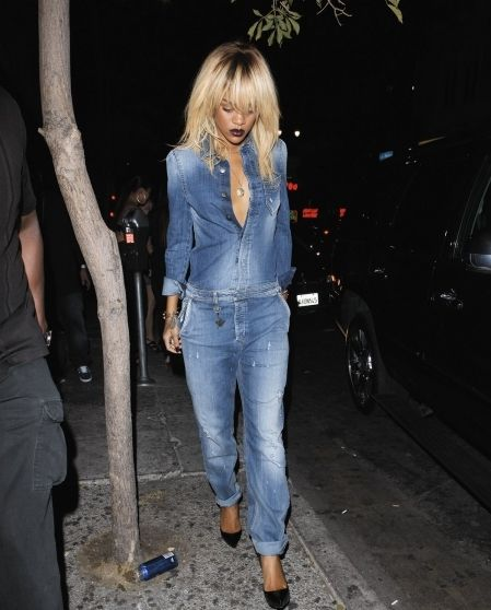 Rihanna Spotted Sporting A Sexy Denim Jumpsuit With A Layed Back ...