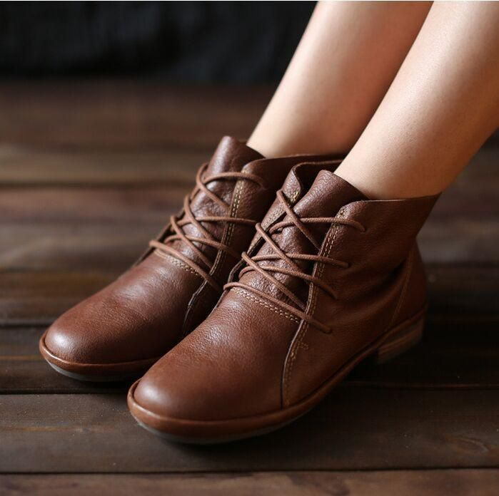 16c58f5c706b Handmade Brown Retro Leather Oxford Shoes for Wome Flat Ankle Boots Lace Up  Short Booties Leather