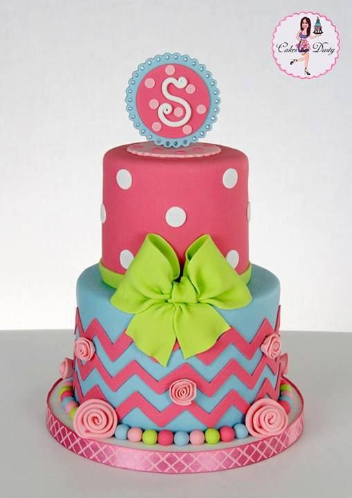 Pink Blue Chevron and Polka Dot Cake Cakes Decorated Pinterest
