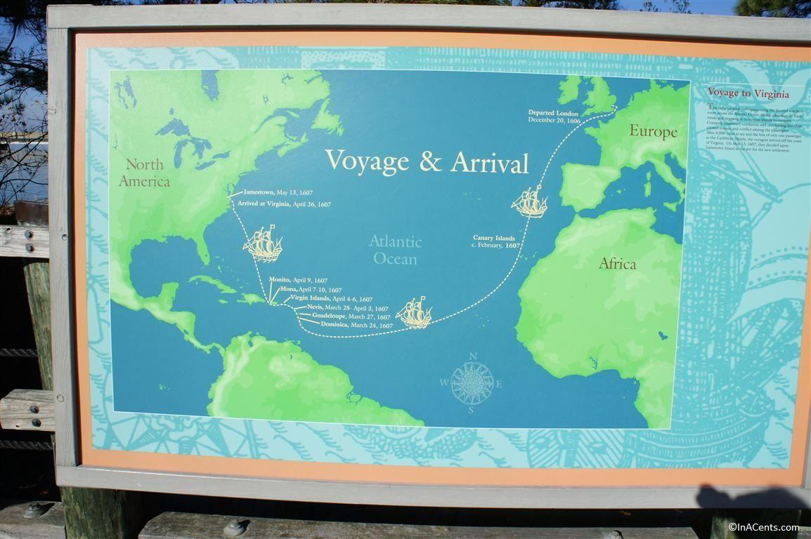 Jamestown Settlement Voyage Map