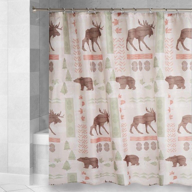 Wildlife Fabric Shower Curtain Moose Cabin Wilderness Lodge Bear