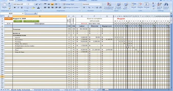 Construction Cost To Calculate Using Excel