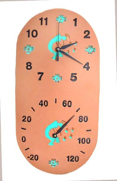 Southwest Clock Thermometer Combo Koko Design 9x18