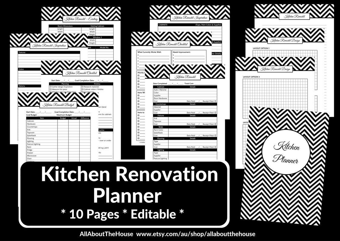 kitchen renovation planner printables editable instant download rh pinterest com