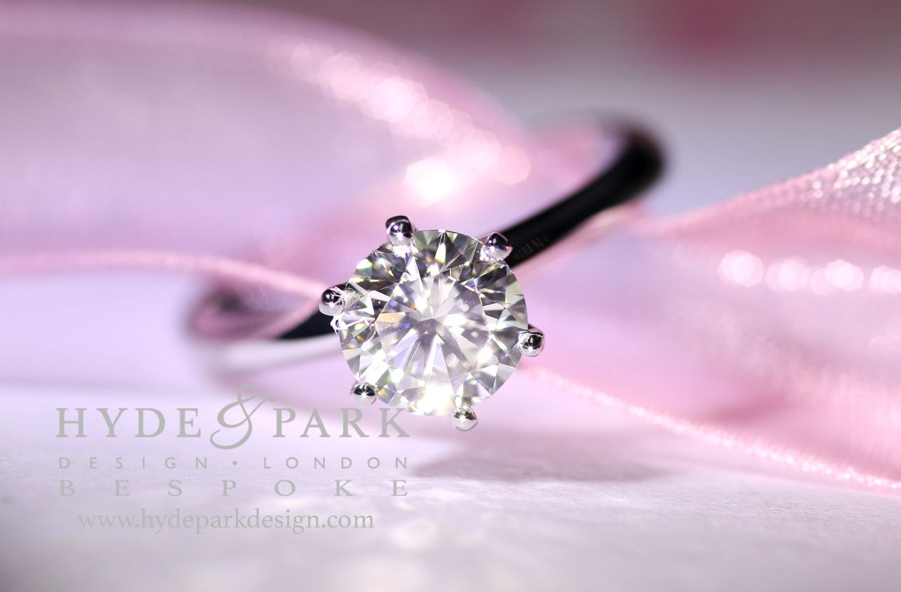 Classic 6 claw round brilliant cut diamond engagement ring created ...