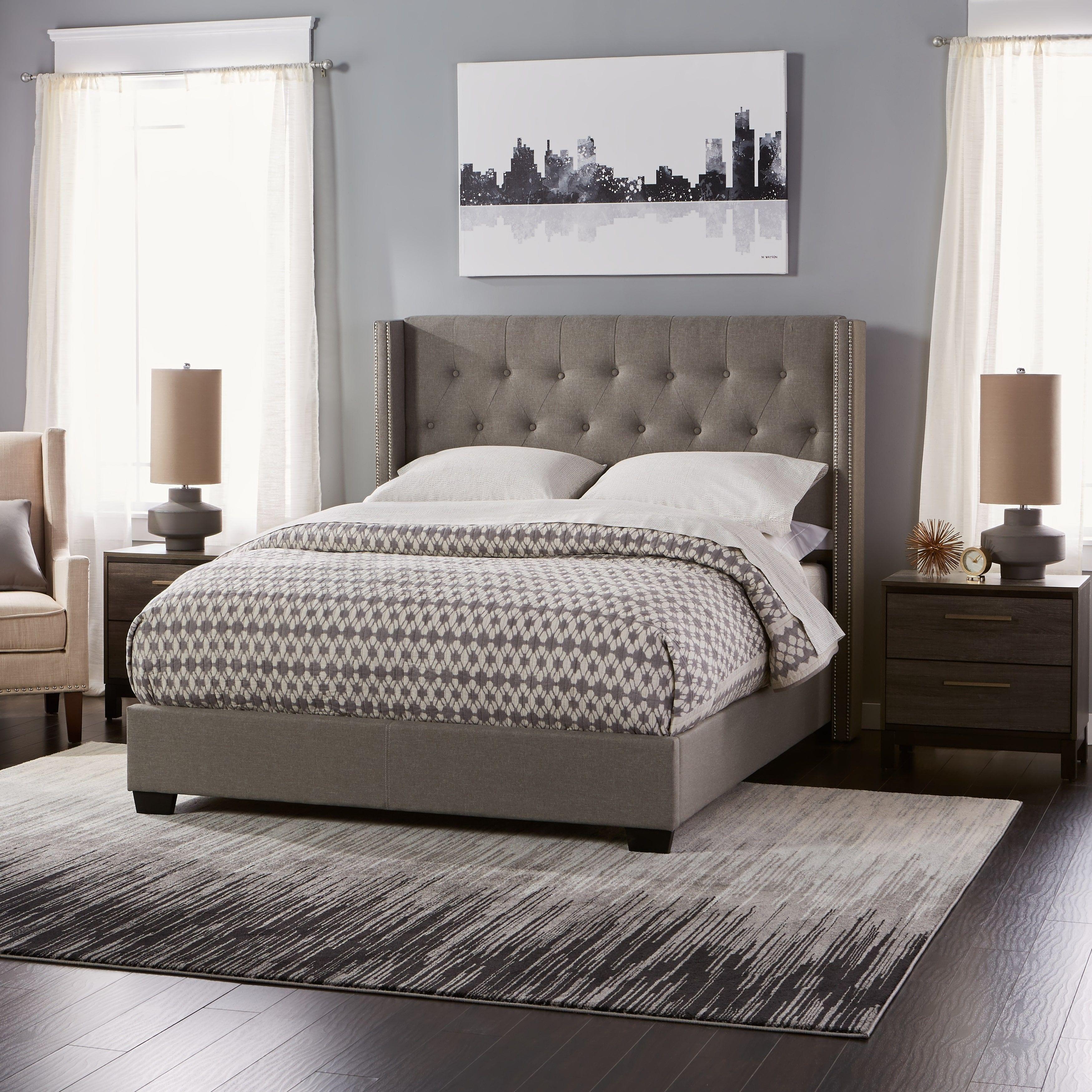 Diamond Tufted Wingback Bed In Grey Bedroom Headboard Wingback