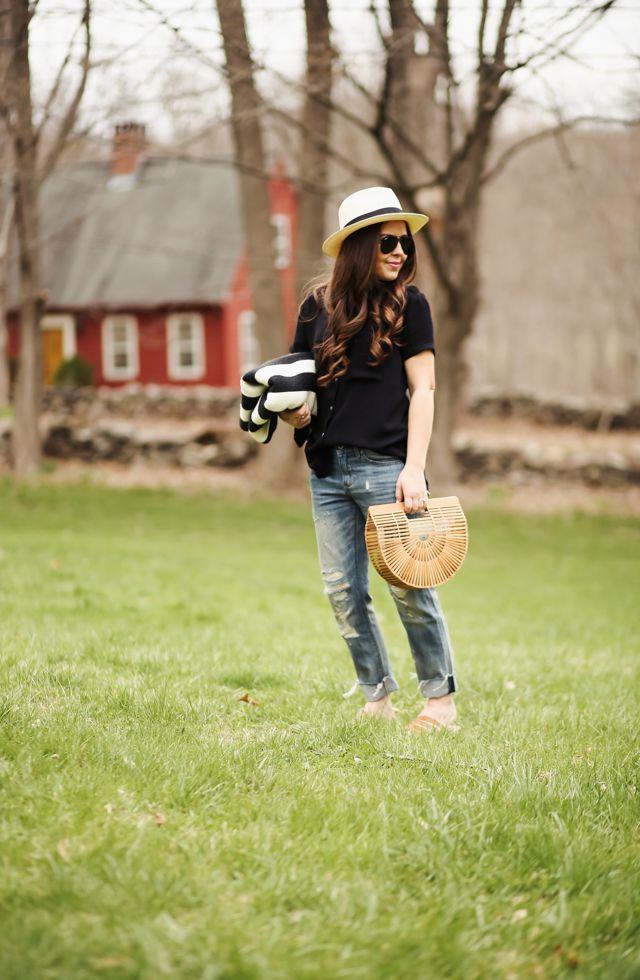 2238ecd746 off-duty denim with Lucky Brand. - dress cori lynn. Black shirt+distressed  jeans+camel flat sandals+wood handbag+sun hat+black sunglasses.