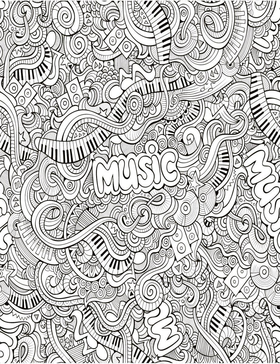 Zendoodle Très Difficile Musique à Imprimer Dessins Sur