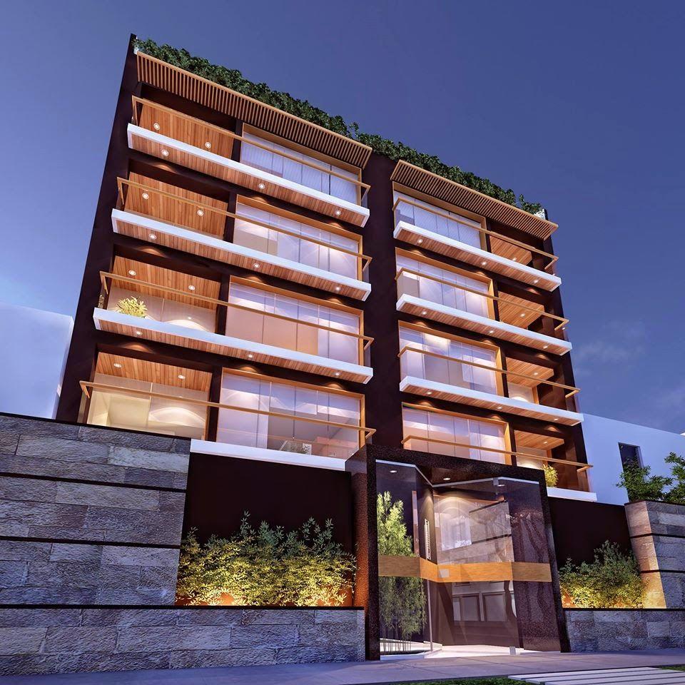Fachadas de edificios de departamentos exteriores for Departamentos rusticos modernos