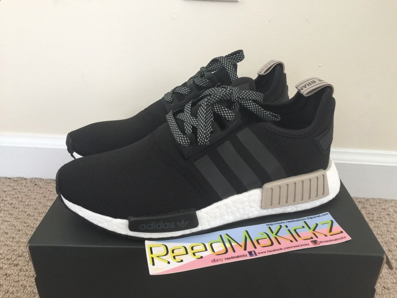 check out a47fd e6f9f Adidas NMD R1 Black White Tan Cream S76847 Mens sizes