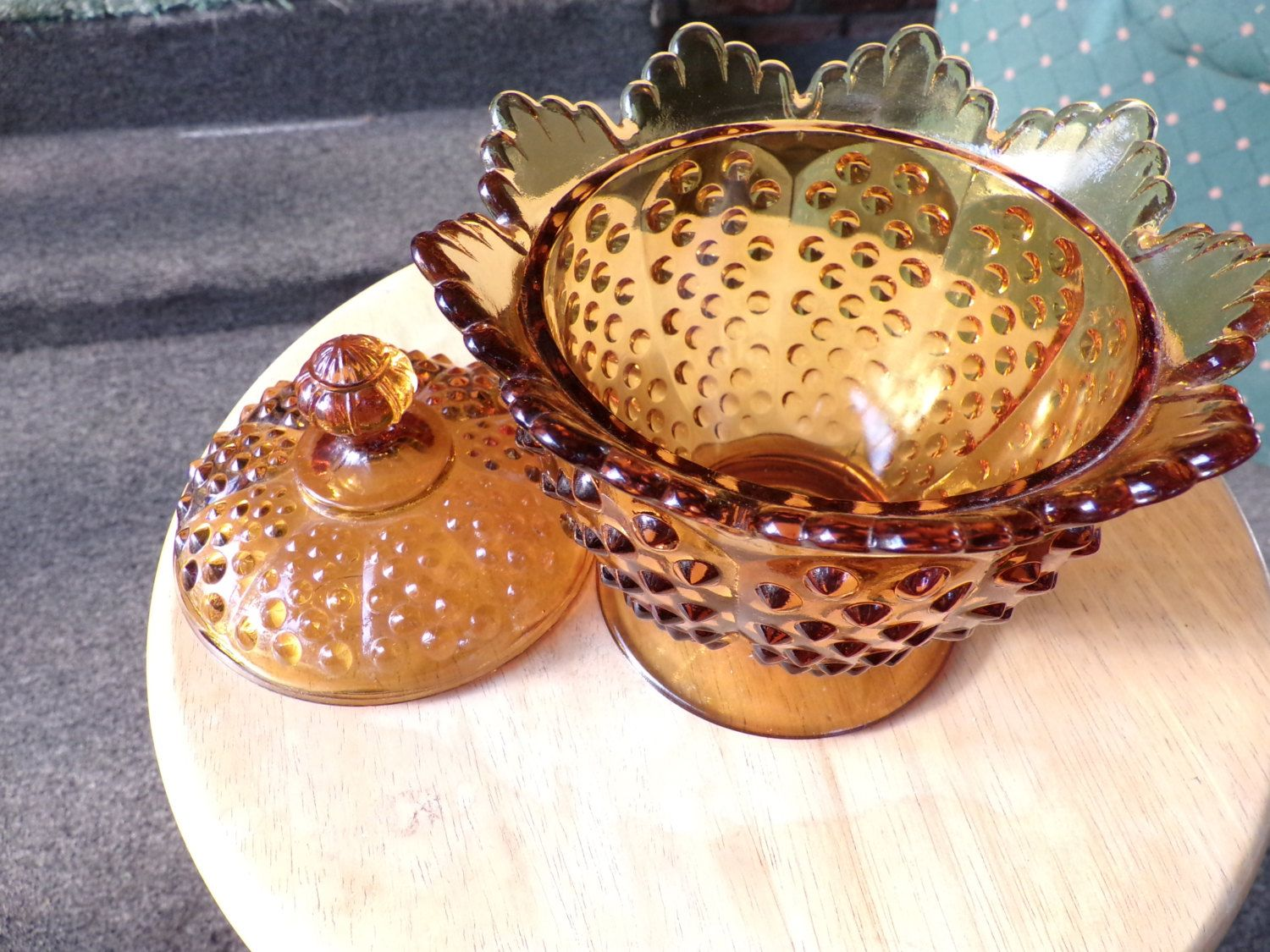 Vintage Fenton Amber Glass Hobnail Candy Dish with lid