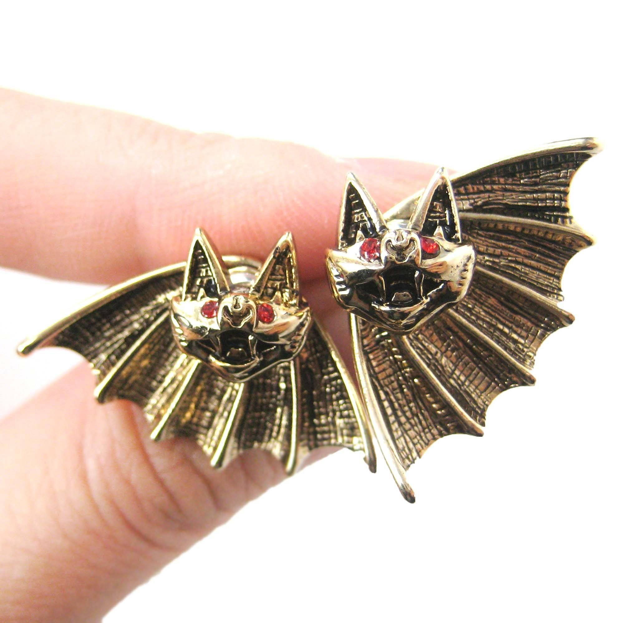 Unique Bat Shaped Two Part Animal Stud Earrings in Gold | DOTOLY ➤➤➤ https://goo.gl/Fvgv1B   #animaljewelry #animalthemedgifts #giftsforanimallovers #animaljewellery #dotoly