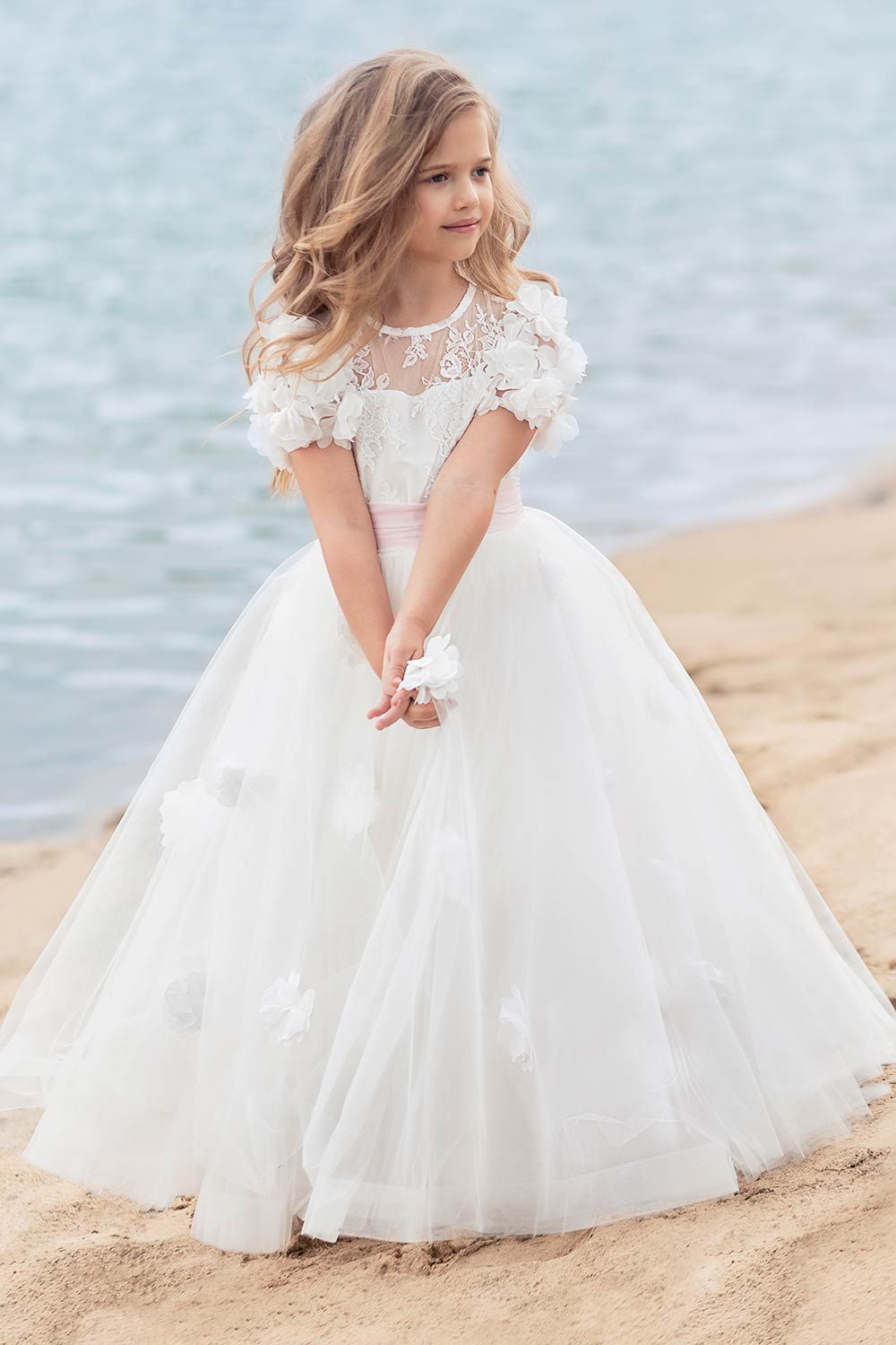 Cup sleeve ball gown with lace bodice and handmade flower decor