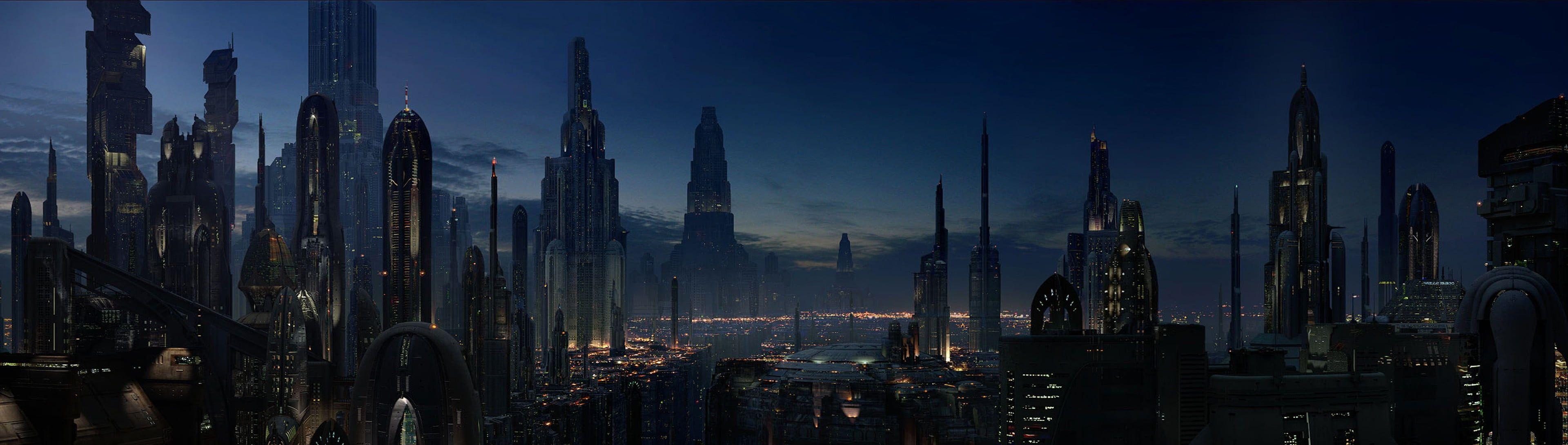 city wallpaper multiple display Star Wars #Coruscant #4K # ...