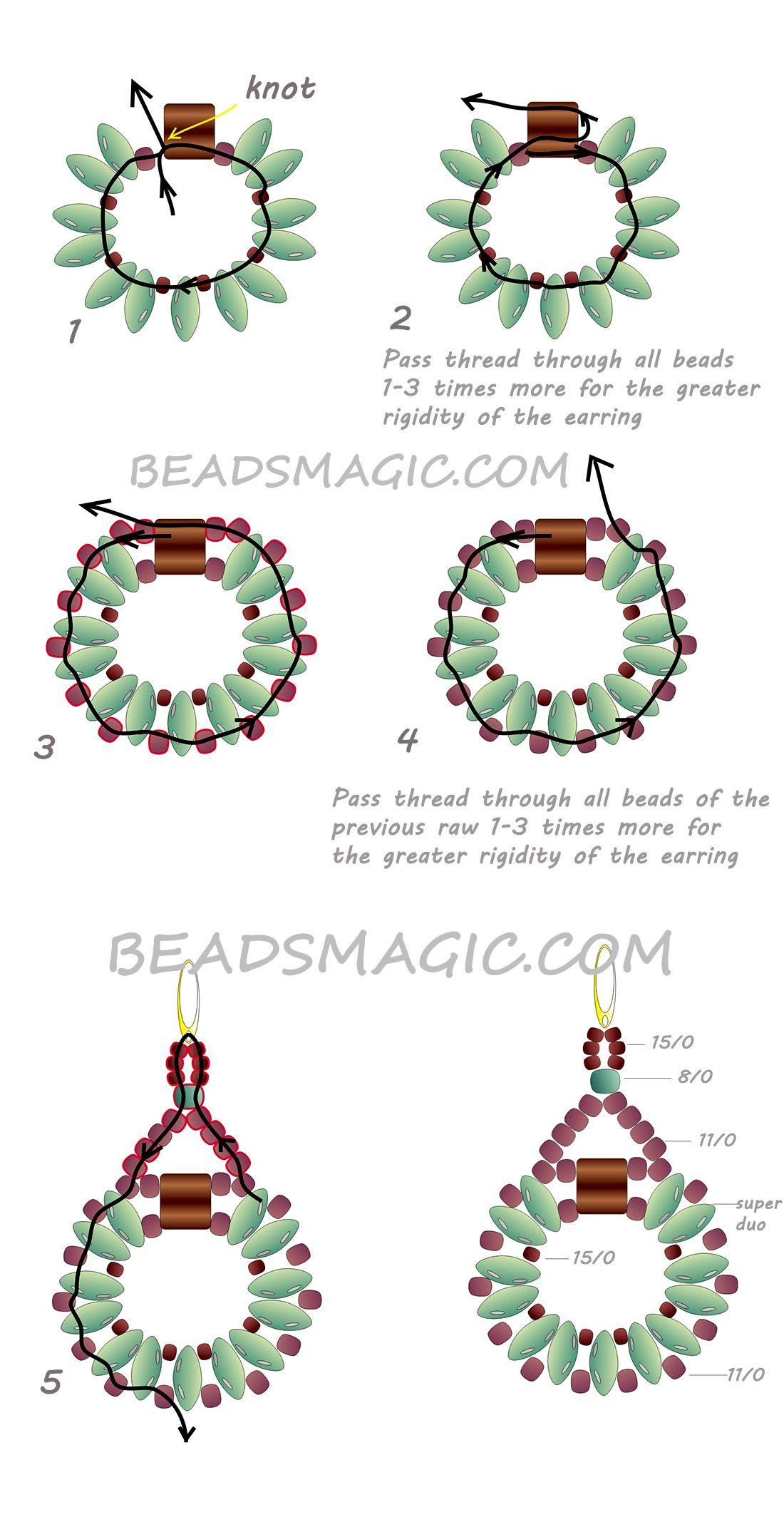 Free Pattern For Earrings Sanremo Seed Bead Tutorial Beaded