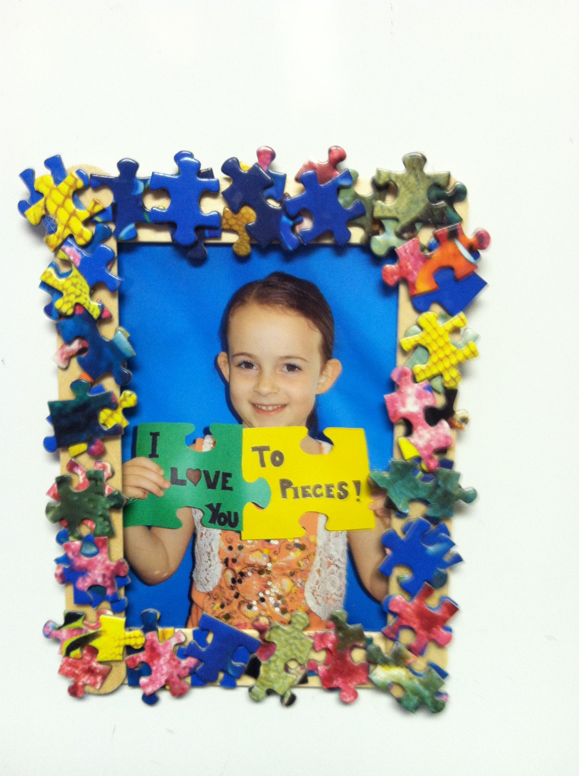 Father S Day Project Craft Sticks Puzzle Pieces Magnet And Photo I Love You To Pieces
