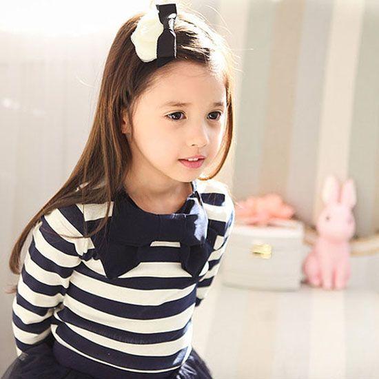 9c23a73460b4d Pastel ボーダーリボンブラウス(ネイビー) - 韓国子供服 通販 リズハピネス  キッズ服
