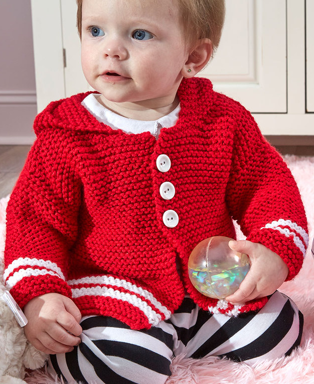 Free Knitting Pattern for Hooded Buttoned Up Cardi - This easy ...