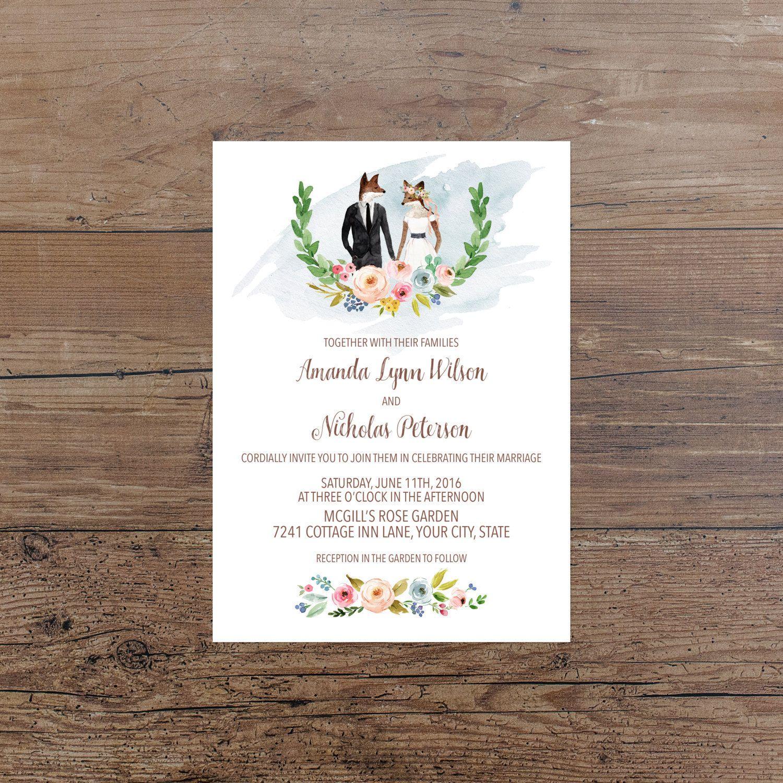 Wedding Invitation Printable Woodland Wedding Invite Woodland ...