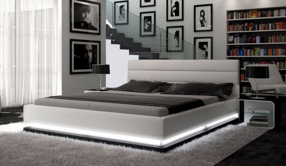 COSIMO- Designer Italian Leather Bed Frame with LED Lighting | Home ...