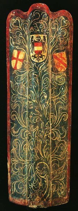 Pavisa (escudo de asedio) pintada con las armas de Austria. Siglo XV.