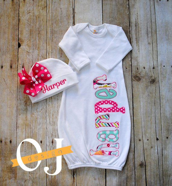 Newborn Hospital Set Infant  Gown Personalized Bow Hat Baby Shower Personalized Infant Gown Pink and Aqua Floral